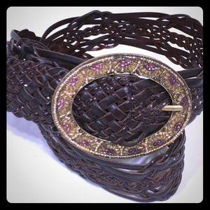 Loft Boho Leather Braided Belt